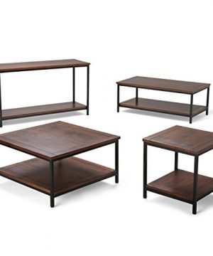 SIMPLIHOME Skyler SOLID MANGO WOOD And Metal 48 Inch Wide Rectangle Modern Industrial Coffee Table In Dark Cognac Brown With Storage 1 Shelf For The Living Room Family Room 0 3 300x360