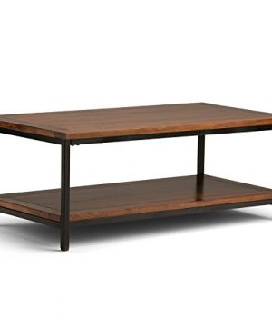 SIMPLIHOME Skyler SOLID MANGO WOOD And Metal 48 Inch Wide Rectangle Modern Industrial Coffee Table In Dark Cognac Brown With Storage 1 Shelf For The Living Room Family Room 0 300x360