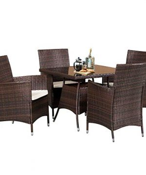 SOLAURA 5 Pieces Patio Dining Table Set Brown Wicker Outdoor Dining Chairs Patio Garden Set For Garden Lawn Balcony And Swimming Pool SideSquare 0 0 300x360