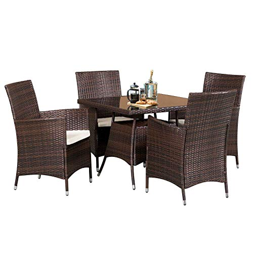 SOLAURA 5 Pieces Patio Dining Table Set Brown Wicker Outdoor Dining Chairs Patio Garden Set For Garden Lawn Balcony And Swimming Pool SideSquare 0 0