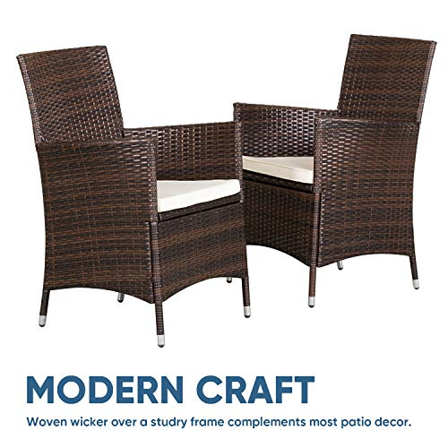 SOLAURA 5 Pieces Patio Dining Table Set Brown Wicker Outdoor Dining Chairs Patio Garden Set For Garden Lawn Balcony And Swimming Pool SideSquare 0 1