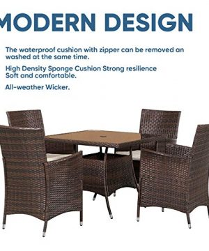 SOLAURA 5 Pieces Patio Dining Table Set Brown Wicker Outdoor Dining Chairs Patio Garden Set For Garden Lawn Balcony And Swimming Pool SideSquare 0 3 300x360