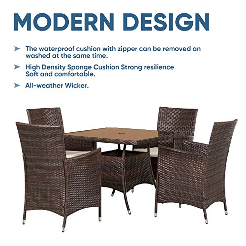 SOLAURA 5 Pieces Patio Dining Table Set Brown Wicker Outdoor Dining Chairs Patio Garden Set For Garden Lawn Balcony And Swimming Pool SideSquare 0 3