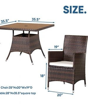 SOLAURA 5 Pieces Patio Dining Table Set Brown Wicker Outdoor Dining Chairs Patio Garden Set For Garden Lawn Balcony And Swimming Pool SideSquare 0 4 300x360