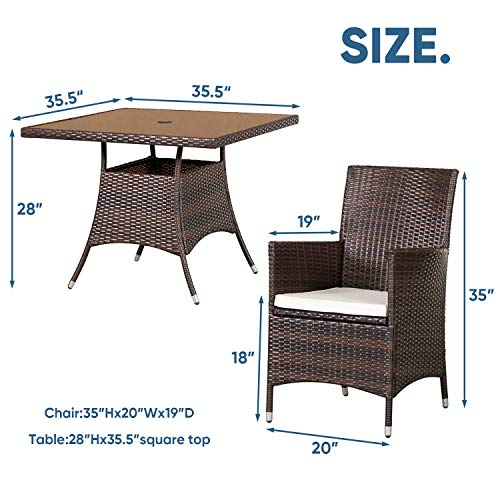 SOLAURA 5 Pieces Patio Dining Table Set Brown Wicker Outdoor Dining Chairs Patio Garden Set For Garden Lawn Balcony And Swimming Pool SideSquare 0 4
