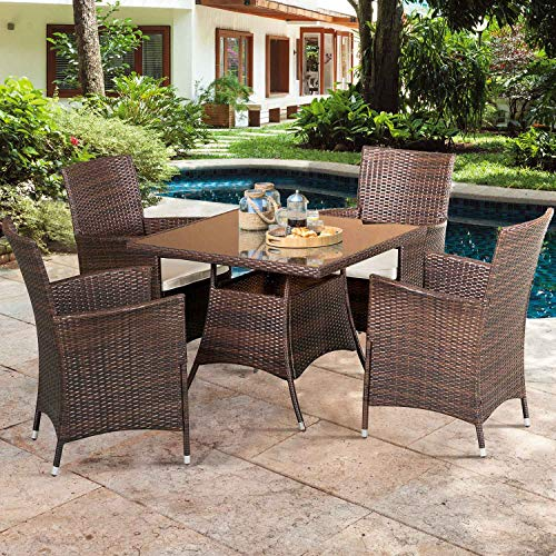 SOLAURA 5 Pieces Patio Dining Table Set Brown Wicker Outdoor Dining Chairs Patio Garden Set For Garden Lawn Balcony And Swimming Pool SideSquare 0