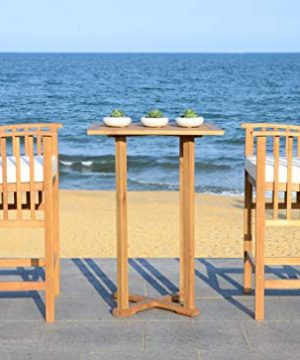 Safavieh PAT7043A Outdoor Collection Pate Teak And White 3 Pc 398 Bar Table Bistro Set NaturalBeige 0 0 300x360