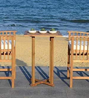 Safavieh PAT7043A Outdoor Collection Pate Teak And White 3 Pc 398 Bar Table Bistro Set NaturalBeige 0 1 300x331
