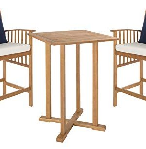 Safavieh PAT7043A Outdoor Collection Pate Teak And White 3 Pc 398 Bar Table Bistro Set NaturalBeige 0 2 300x308