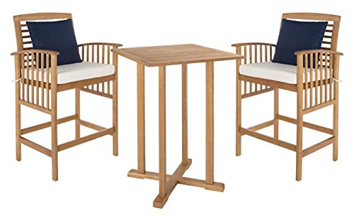 Safavieh PAT7043A Outdoor Collection Pate Teak And White 3 Pc 398 Bar Table Bistro Set NaturalBeige 0