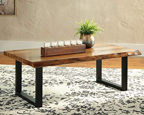 Signature Design By Ashley Brosward Contemporary Rectangular Coffee Table BrownBlack 0 0