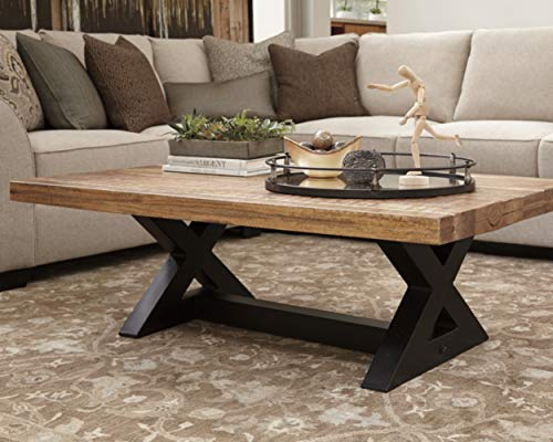 Signature Design By Ashley Wesling Coffee Table Brown Top W Black Base 0 0