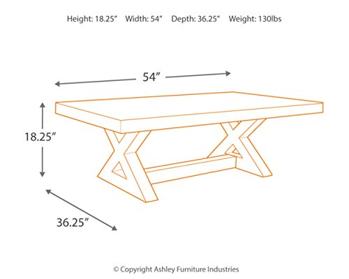 Signature Design By Ashley Wesling Coffee Table Brown Top W Black Base 0 2
