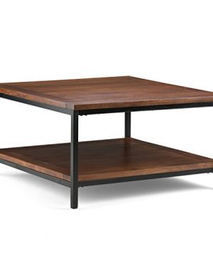 Simpli Home Skyler SOLID MANGO WOOD And Metal 34 Inch Wide Square Modern Industrial Coffee Table In Dark Cognac Brown With Storage 1 Shelf For The Living Room Family Room 0 300x360