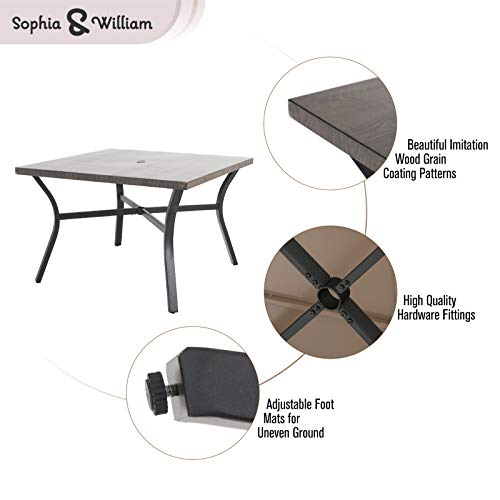 Sophia William 5 Pieces Patio Wicker Dining Set Outdoor Furniture Set 2 Outdoor PE Rattan Chairs With Seat Cushion And 1 Square Metal Table With Painted Top And 197 Umbrella Hole 0 1