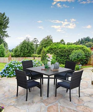 Sophia William 5 Pieces Patio Wicker Dining Set Outdoor Furniture Set 2 Outdoor PE Rattan Chairs With Seat Cushion And 1 Square Metal Table With Painted Top And 197 Umbrella Hole 0 3 300x360