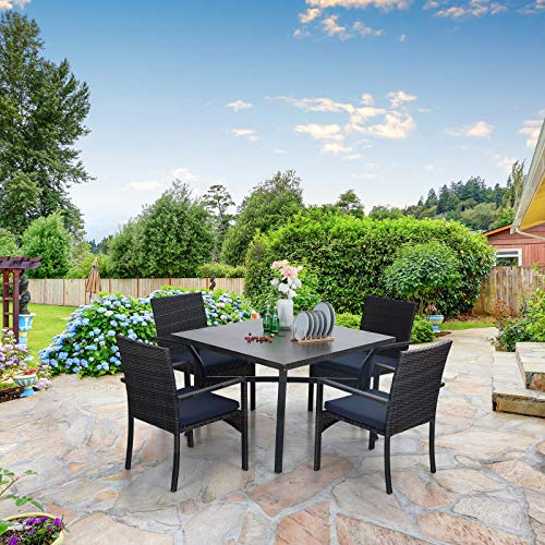 Sophia William 5 Pieces Patio Wicker Dining Set Outdoor Furniture Set 2 Outdoor PE Rattan Chairs With Seat Cushion And 1 Square Metal Table With Painted Top And 197 Umbrella Hole 0 3