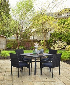 Sophia William 5 Pieces Patio Wicker Dining Set Outdoor Furniture Set 2 Outdoor PE Rattan Chairs With Seat Cushion And 1 Square Metal Table With Painted Top And 197 Umbrella Hole 0 4 300x360