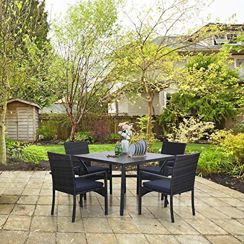 Sophia William 5 Pieces Patio Wicker Dining Set Outdoor Furniture Set 2 Outdoor PE Rattan Chairs With Seat Cushion And 1 Square Metal Table With Painted Top And 197 Umbrella Hole 0 4