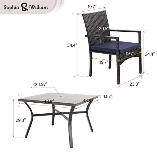 Sophia William 5 Pieces Patio Wicker Dining Set Outdoor Furniture Set 2 Outdoor PE Rattan Chairs With Seat Cushion And 1 Square Metal Table With Painted Top And 197 Umbrella Hole 0 5