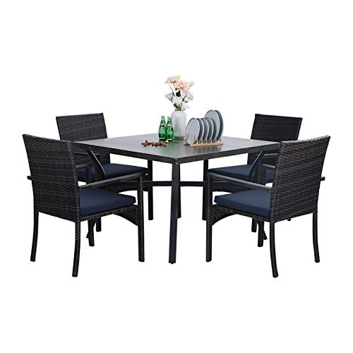 Sophia William 5 Pieces Patio Wicker Dining Set Outdoor Furniture Set 2 Outdoor PE Rattan Chairs With Seat Cushion And 1 Square Metal Table With Painted Top And 197 Umbrella Hole 0