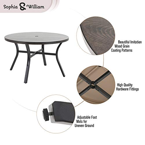 Sophia William 5 Pieces Patio Wicker Dining SetOutdoor Furniture Set 2 Outdoor PE Rattan Chairs With Seat Cushion And 1 Round Metal Table With Painted Top And 197 Umbrella Hole 0 0