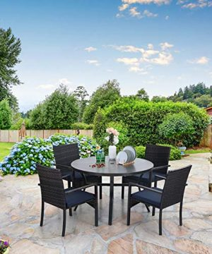 Sophia William 5 Pieces Patio Wicker Dining SetOutdoor Furniture Set 2 Outdoor PE Rattan Chairs With Seat Cushion And 1 Round Metal Table With Painted Top And 197 Umbrella Hole 0 1 300x360