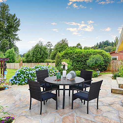Sophia William 5 Pieces Patio Wicker Dining SetOutdoor Furniture Set 2 Outdoor PE Rattan Chairs With Seat Cushion And 1 Round Metal Table With Painted Top And 197 Umbrella Hole 0 1