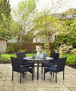 Sophia William 5 Pieces Patio Wicker Dining SetOutdoor Furniture Set 2 Outdoor PE Rattan Chairs With Seat Cushion And 1 Round Metal Table With Painted Top And 197 Umbrella Hole 0 2 300x360