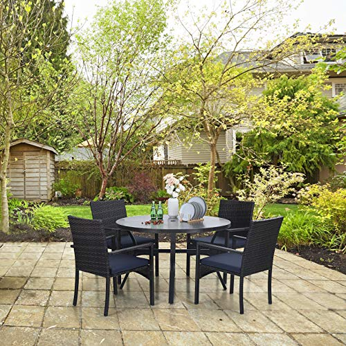 Sophia William 5 Pieces Patio Wicker Dining SetOutdoor Furniture Set 2 Outdoor PE Rattan Chairs With Seat Cushion And 1 Round Metal Table With Painted Top And 197 Umbrella Hole 0 2
