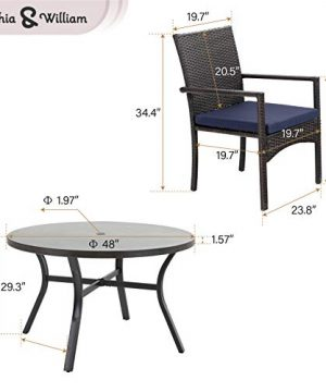 Sophia William 5 Pieces Patio Wicker Dining SetOutdoor Furniture Set 2 Outdoor PE Rattan Chairs With Seat Cushion And 1 Round Metal Table With Painted Top And 197 Umbrella Hole 0 3 300x360