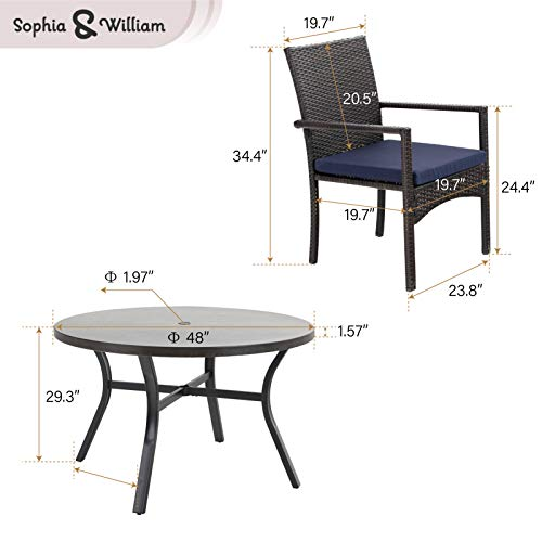 Sophia William 5 Pieces Patio Wicker Dining SetOutdoor Furniture Set 2 Outdoor PE Rattan Chairs With Seat Cushion And 1 Round Metal Table With Painted Top And 197 Umbrella Hole 0 3