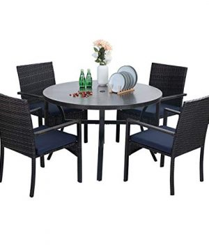 Sophia William 5 Pieces Patio Wicker Dining SetOutdoor Furniture Set 2 Outdoor PE Rattan Chairs With Seat Cushion And 1 Round Metal Table With Painted Top And 197 Umbrella Hole 0 300x360