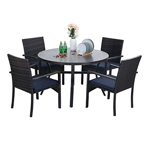 Sophia William 5 Pieces Patio Wicker Dining SetOutdoor Furniture Set 2 Outdoor PE Rattan Chairs With Seat Cushion And 1 Round Metal Table With Painted Top And 197 Umbrella Hole 0