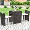 Tangkula 3 PCS Outdoor Rattan Dining Set Patio Conversation Set Bistro Set With Tempered Glass Table Patio Wicker Chair Furniture Set With Cushions For Courtyard Balcony Garden Brown 0 100x100