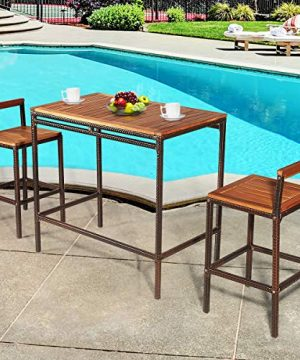 Tangkula 3 PCS Patio Bar Table Set Outdoor Rattan Bar Set Bistro Set With Acacia Wood Top Wood Table Set With 2 Bar Chairs For Dining Room Backyard Patio And Balcony 0 0 300x360