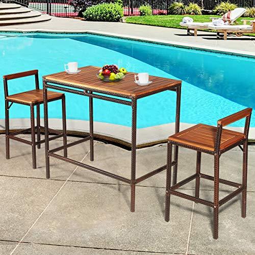 Tangkula 3 PCS Patio Bar Table Set Outdoor Rattan Bar Set Bistro Set With Acacia Wood Top Wood Table Set With 2 Bar Chairs For Dining Room Backyard Patio And Balcony 0 0