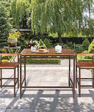 Tangkula 3 PCS Patio Bar Table Set Outdoor Rattan Bar Set Bistro Set With Acacia Wood Top Wood Table Set With 2 Bar Chairs For Dining Room Backyard Patio And Balcony 0 1 300x360