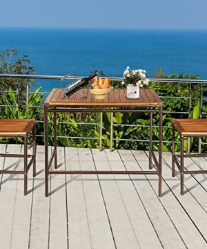 Tangkula 3 PCS Patio Bar Table Set Outdoor Rattan Bar Set Bistro Set With Acacia Wood Top Wood Table Set With 2 Bar Chairs For Dining Room Backyard Patio And Balcony 0 2 300x360