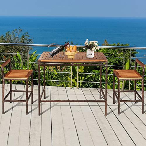 Tangkula 3 PCS Patio Bar Table Set Outdoor Rattan Bar Set Bistro Set With Acacia Wood Top Wood Table Set With 2 Bar Chairs For Dining Room Backyard Patio And Balcony 0 2