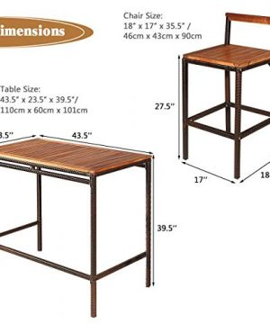 Tangkula 3 PCS Patio Bar Table Set Outdoor Rattan Bar Set Bistro Set With Acacia Wood Top Wood Table Set With 2 Bar Chairs For Dining Room Backyard Patio And Balcony 0 3 300x360