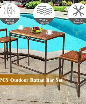 Tangkula 3 PCS Patio Bar Table Set Outdoor Rattan Bar Set Bistro Set With Acacia Wood Top Wood Table Set With 2 Bar Chairs For Dining Room Backyard Patio And Balcony 0 4 300x360