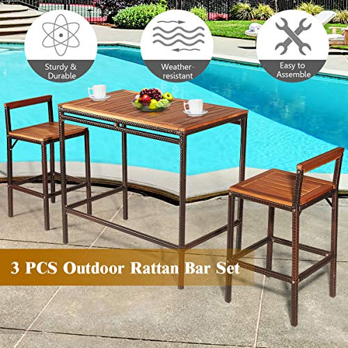 Tangkula 3 PCS Patio Bar Table Set Outdoor Rattan Bar Set Bistro Set With Acacia Wood Top Wood Table Set With 2 Bar Chairs For Dining Room Backyard Patio And Balcony 0 4