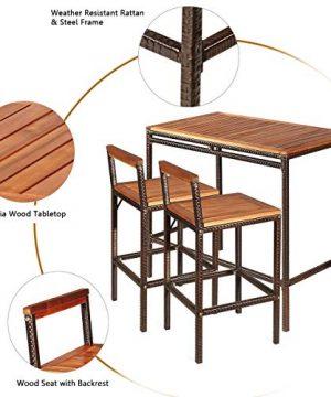 Tangkula 3 PCS Patio Bar Table Set Outdoor Rattan Bar Set Bistro Set With Acacia Wood Top Wood Table Set With 2 Bar Chairs For Dining Room Backyard Patio And Balcony 0 5 300x360