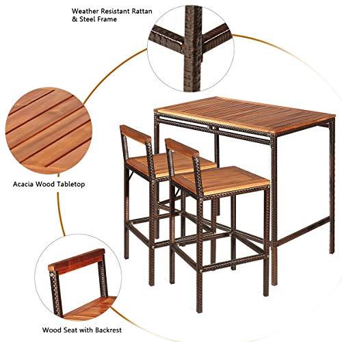 Tangkula 3 PCS Patio Bar Table Set Outdoor Rattan Bar Set Bistro Set With Acacia Wood Top Wood Table Set With 2 Bar Chairs For Dining Room Backyard Patio And Balcony 0 5