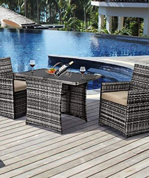 Tangkula 3 Piece Outdoor Dining Set Space Saving Rattan Bistro Set With Glass Top Coffee Table 2 Cushioned Chairs Patio Conversation Furniture Set For Garden Lawn Yard Porch Beige 0 0 300x360