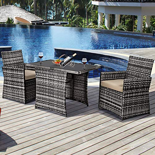 Tangkula 3 Piece Outdoor Dining Set Space Saving Rattan Bistro Set With Glass Top Coffee Table 2 Cushioned Chairs Patio Conversation Furniture Set For Garden Lawn Yard Porch Beige 0 0