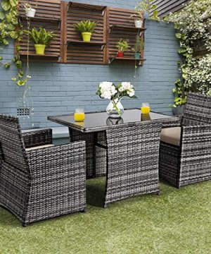 Tangkula 3 Piece Outdoor Dining Set Space Saving Rattan Bistro Set With Glass Top Coffee Table 2 Cushioned Chairs Patio Conversation Furniture Set For Garden Lawn Yard Porch Beige 0 1 300x360