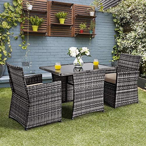 Tangkula 3 Piece Outdoor Dining Set Space Saving Rattan Bistro Set With Glass Top Coffee Table 2 Cushioned Chairs Patio Conversation Furniture Set For Garden Lawn Yard Porch Beige 0 1