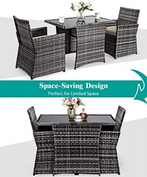 Tangkula 3 Piece Outdoor Dining Set Space Saving Rattan Bistro Set With Glass Top Coffee Table 2 Cushioned Chairs Patio Conversation Furniture Set For Garden Lawn Yard Porch Beige 0 2 300x360